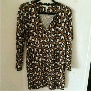 DVF Leopard Print Shirt Dress, Like New.
